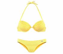 Push-up-Bikini in Häkeloptik gelb