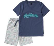 Schlafanzug dunkelblau / grau
