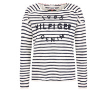 Sweatshirt mit Signature-Stitching blau / weiß