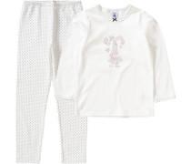 Schlafanzug für Mädchen pastellpink / rot / schwarz / weiß