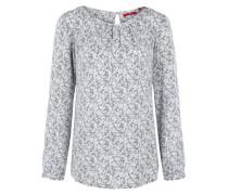Bluse mit Allover-Print grau / weiß