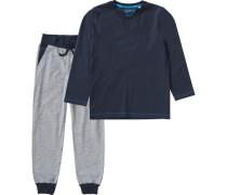 Schlafanzug für Jungen blau / ultramarinblau / grau