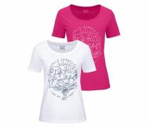 Rundhalsshirt (Packung 1 tlg. 2er-Pack) pink / weiß