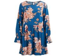 Kleid mit langen Ärmeln Blumen-Print grau