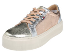 Sneaker in Metallic-Optik silber / rosé / gold
