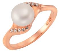 Ring mit Zirkonia und Süßwasserzuchtperle gold