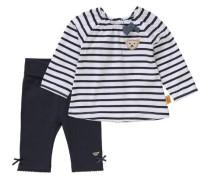 Baby Set Langarmshirt und Softbundhose blau / weiß