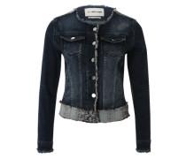 Jeansjacke mit Fransensaum blau
