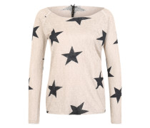 Viskose Pullover mit Sternen kitt / schwarz