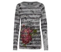 Pullover 'jers_Lia' anthrazit / stone / rot