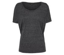 T-Shirt mit gedrehtem Ausschnitt anthrazit / schwarzmeliert
