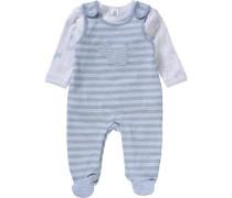 Set Strampler und Langarmshirt für Jungen hellblau / weiß