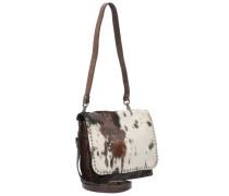 Tracollina Mini Bag Schultertasche Leder 18 cm braun / weiß