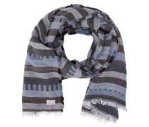 Schal Streifen blau / braun / weiß