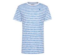 T-Shirt 'Kantano relaxed r t s/s' blau / weiß