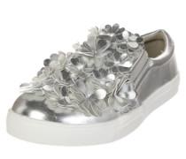 Metallic-Sneaker mit Blüten silber / weiß