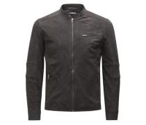 Leder-Biker-Jacke dunkelbraun