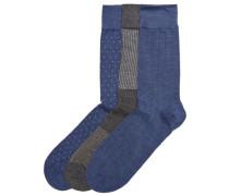 Socken 3er-Pack marine / graphit