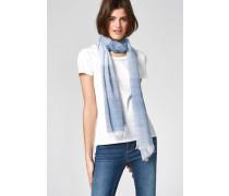 HALLHUBER Schal aus Leinen-Baumwoll-Mix blau