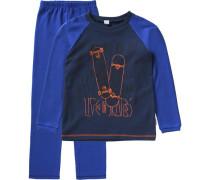 Schlafanzug für Jungen blau / marine / orangerot