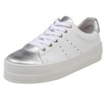 Sneaker mit Plateau silber / weiß