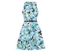Kleid 'Closet Gold-Spit' aqua / dunkelgrün / weiß