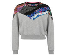 Sweatshirt mit buntem Print graumeliert / mischfarben