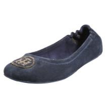 Veloursleder-Ballerina dunkelblau
