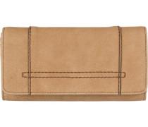 Flap Wallet aus Lederimitat beige