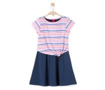 Jerseykleid im 2-in1-Look nachtblau / dunkelorange / pink