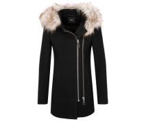 Wollmantel mit Fake Fur schwarz