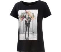 Printshirt 'Flowerhead Casual' hellgrau / schwarz