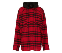 Oversize-Hemd mit Kapuze rot / schwarz
