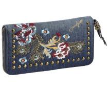 Portemonnaie mit Blumenstickerei und Nieten blue denim / mischfarben