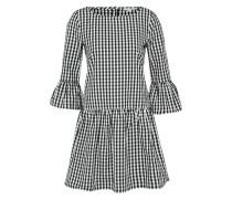 Kleid 'check dress with frill sleeve' schwarz / weiß