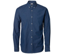 Slim-Fit-Jeanshemd blau