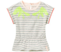 T-shirt Delphos hellgrau / neongrün / weiß