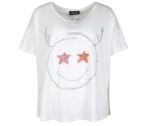 T-Shirt 'xmas Smile' silber / weiß