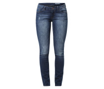 Stretch-Denim im Used-Look dunkelblau
