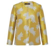 Jacquard-Jacke mit Blättermotiv gelb / weiß
