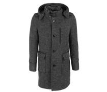 Modischer Mantel mit Teddykragen schwarz