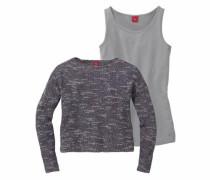 Set aus Feinstrick-Pullover und Top grau / anthrazit