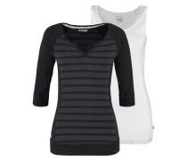 Shirt (Set 2 tlg. mit Top) graumeliert / schwarz / weiß