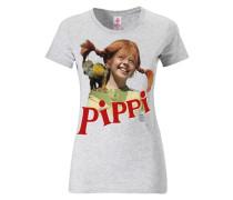 """T-Shirt """"Pippi Langstrumpf"""" rot / weißmeliert"""