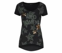 T-Shirt gold / khaki / schwarz
