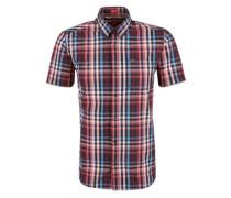 Kariertes Kurzarmhemd rauchblau / rot / pastellrot / schwarz / weiß