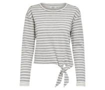 Detailreiches Sweatshirt graumeliert / weiß