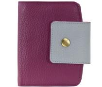 Funky Geldbörse Leder 10 cm grau / lila