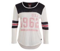 Shirt '1962 Burnout Varsity' rostbraun / schwarz / wollweiß