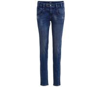 Super-Stretch-Slim Fit Jeans 'objup' dunkelblau